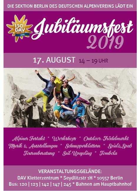Plakat Jubiläumsfest der DAV Sektion Berlin